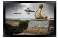 American GI on Normandy beach watches Spitfires, Framed Print