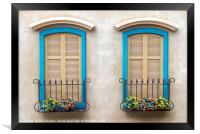 Two quaint windows, with bright blue frames, Framed Print