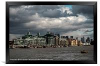 A stormy day on the river Thames, London, Framed Print
