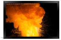 Realistic orange fire explosion on black backgroun, Framed Print