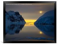 Midnight at Lemaire, Antarctica, Framed Print