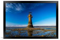 The Iron Lighthouse at Whiteford Sands., Framed Print