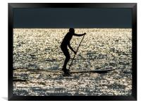 Paddle Boarder at Newgale, Pembrokeshire., Framed Print