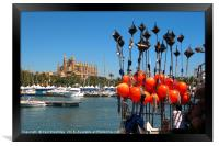 Fhing Boat Floats and Palma Cathedral, Mallorca, Framed Print