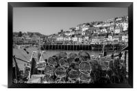 Brixham Harbour with Crab Pots in Monochrome, Framed Print