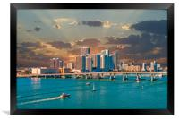 Boats and Airplane at Biscayne Bay, Framed Print