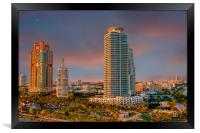 Two Colorful High Rise Tropical Condos, Framed Print