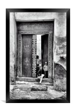 African Kids Playing - Stonetown Zanzibar 3609 AFR, Framed Print