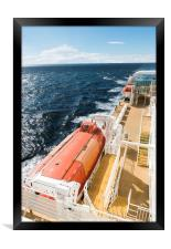 lifeboat on a cruise ship on the sea, Framed Print