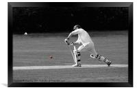 Cricketer in black and white with red ball, Framed Print