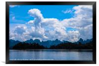 Beautiful lake landscape with jungle covered mount, Framed Print