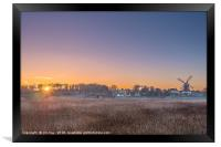 Sun Rising through the Trees at Cley next the Sea, Framed Print
