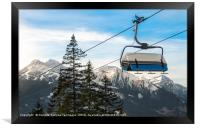 Ski chairlift  and Alps mountains peaks, Framed Print