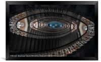 Spiral staircase with chandeliers, Framed Print