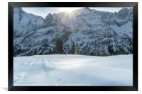 Snow-capped Alps and icy snow valley, Framed Print