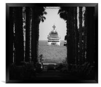 Palm tree and luxury yacht, Framed Print