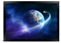 Comet moving around planet earth, Framed Print