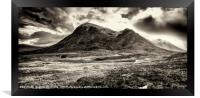 Storm clouds over Stob Dearg, Framed Print