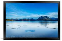 A very still Sound of Raasay and the mountains of , Framed Print