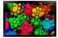 Oil drops on water., Framed Print