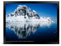 Antarctic mountain reflections, Framed Print