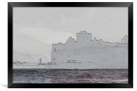 Peel Castle, Isle of Man with Find Edges Filter, Framed Print