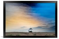 Tethered Boat on a painted sky, Framed Print