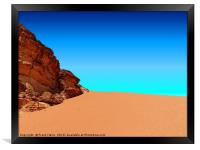 The red dune in the nature reserve of Wadi Rum, Framed Print