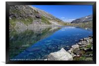 Small lake with clear meltwater in Norway, Framed Print