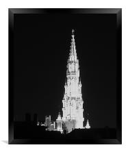 Brussels - Gothic tower town hall , Framed Print
