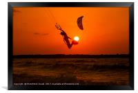 Kite surfing at sunset, Framed Print