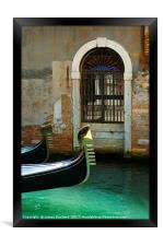 Gondola and arched doorway, Framed Print