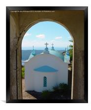 Greek Church through the Arch, Framed Print