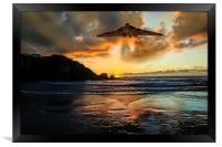 Vulcan Bomber Cornwall sunset, Framed Print