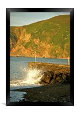 Breakers on the Harbour Wall , Framed Print