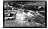The East Lyn River at Lynmouth, b+w, Framed Print