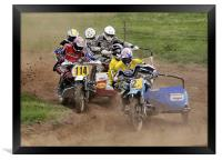 Sidecar motorcycle scramble, Framed Print