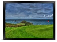 1st Green at Cape Cornwall Golf Club, Framed Print