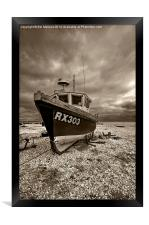 Dungeness Boat under Cloudy Skies, Framed Print