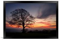Hill Top Tree and Sunset, Framed Print