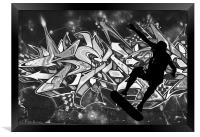 Skateboarder with Graffitti Background, Framed Print