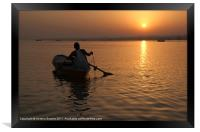 Sunrise on the Ganges, Varanasi, India, Framed Print