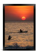 Kayaking at Sunset Palolem, Goa, India, Framed Print
