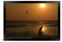 Playing in the Sea at Sunset Mandrem, Framed Print