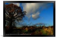 Blue Skies and Clouds above Kent Country Lane and , Framed Print
