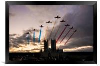 Red Arrows over Lincoln Cathedral, Framed Print