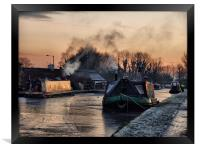 Sunset on the Frozen Lancaster Canal, Framed Print