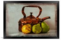 Copper kettle with pears, Framed Print
