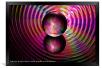 Abstract art Circle of reds in the crystal ball, Framed Print