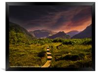 Sunset over Borrowdale, Framed Print